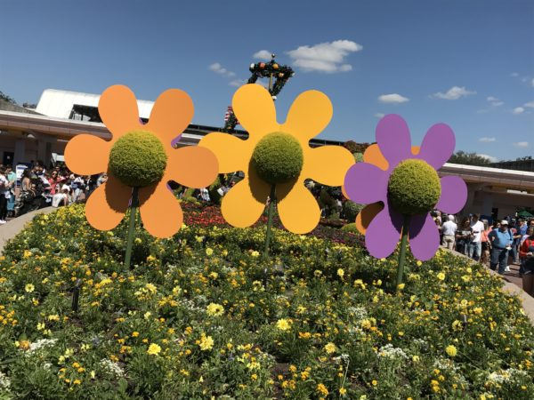 The flower topiaries in front of Innoventions are colorful and appropriate!