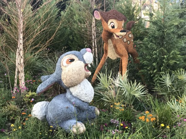 These detailed Bambi and Thumper topiaries are near the entrance to the temporary Mouse Gear shop.