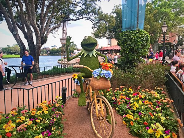 Kermit the Frog on a bike.