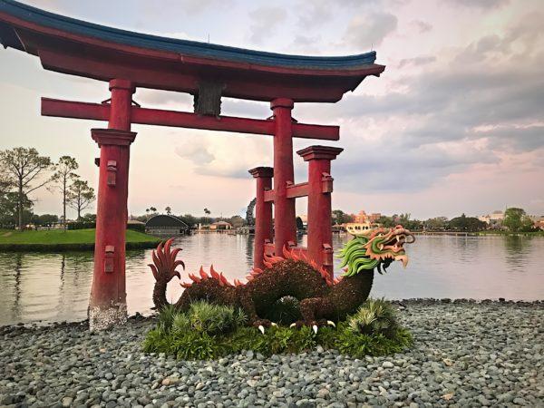 A dragon on the shore of World Showcase lagoon near the Japan pavilion.