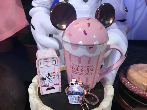 Chef Mickey and Minnie Disney World garbage can, ear cupcake mug, and keychain