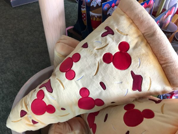 How about a big slice of pizza plush with Mickey-shaped pepperoni!
