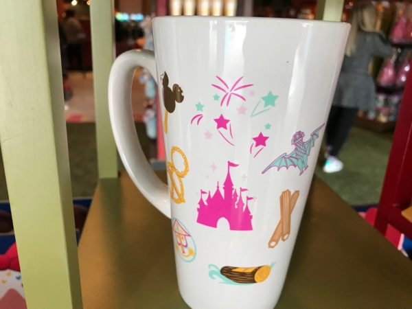 The back of the mug has some park favorites including food and icons!