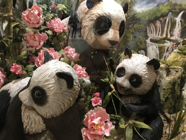 And just look at these beautiful pandas munching on some leaves and flowers.