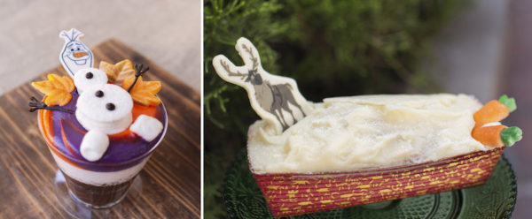 Olaf's Frozen Hot Chocolate Cake and Sven Carrot Cake. Photo credits (C) Disney Enterprises, Inc. All Rights Reserved