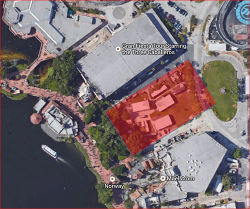 "Location of future ""Frozen"" meet and greet building between Norway and Mexico."