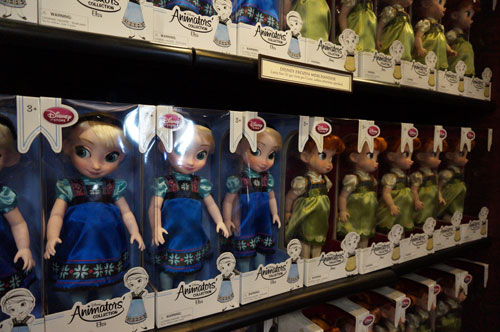 There are plenty of Anna and Elsa dolls on hand.