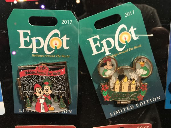 Epcot has some special Christmas pins too like these ones for Holidays Around the World and the Candlelight Processional.