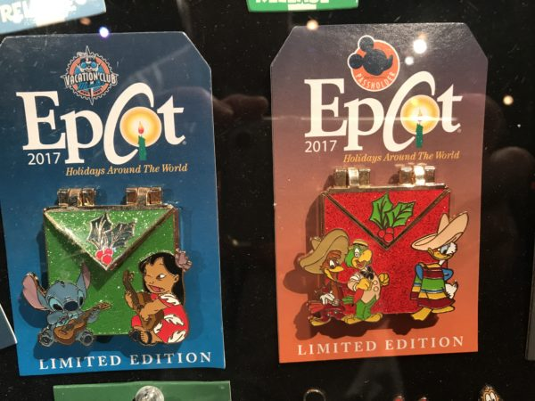 More limited edition Epcot Holidays Around the World pins with Lilo and Stitch and The Three Caballeros.