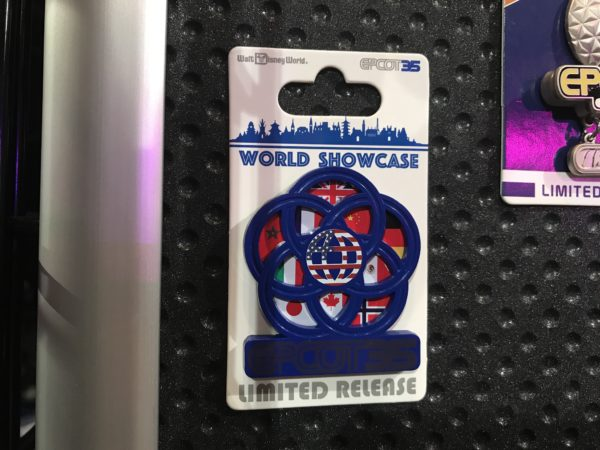 This limited release pin honors every country in World Showcase in the form of their national flags. You'll also notice that it's in a lotus pattern, which has long been a symbol of Epcot representing peace and unity.