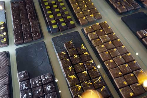 Beautiful chocolate squares on display.