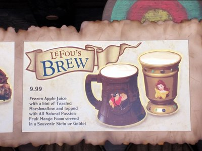 The signature beverage is LeFou's Brew - non-alcoholic frozen apple juice.