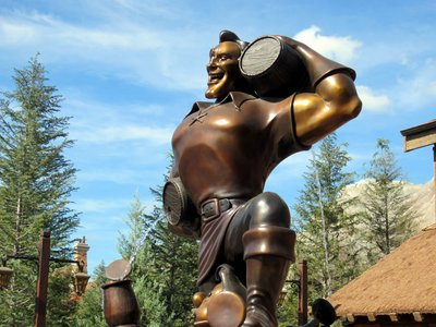 Need help finding the tavern?  Just look for the huge statue of Gaston outside.