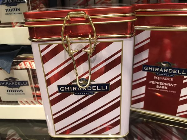 The Peppermint Bark is popular! The decorative tins are beautiful and filled with the minty treat! $19.95!
