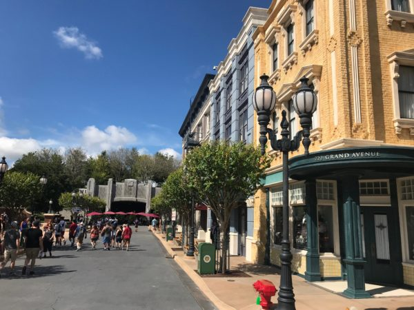 The entrance to Galaxy's Edge in Hollywood Studios is off Grand Avenue, near the Muppet Vision attraction.