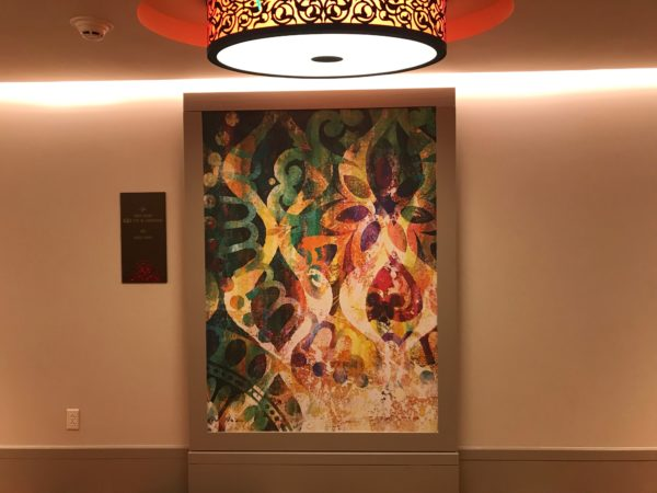 The hallways feature colorful and beautiful artwork.