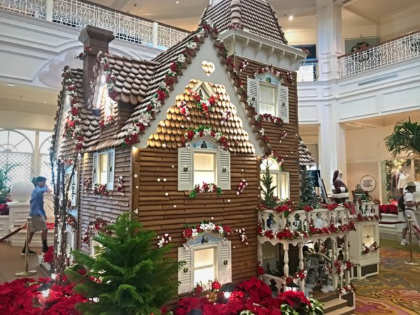 A gingerbread house display at the Grand Floridian.