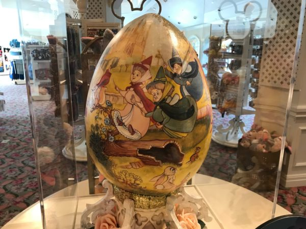 The Fairy Godmothers of Sleeping Beauty are flying around on this egg.