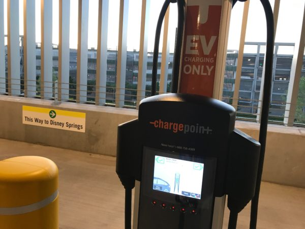 The garage contains parking spots for charging your electric car.