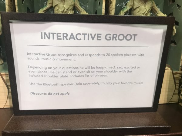 This sign describes the functions Groot can perform.