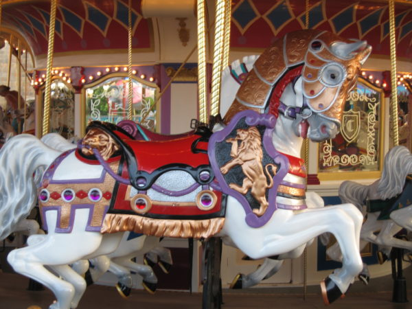 Look how beautiful the horses are on Prince Charming's Regal Carrousel!