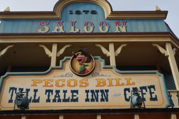 Pecos Bill Tall Tale Inn has a fun saloon theme with a Mexican vibe inside.