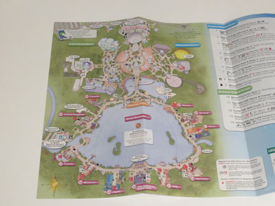 But the new Epcot map looks very different - with the main park entrance at the top.