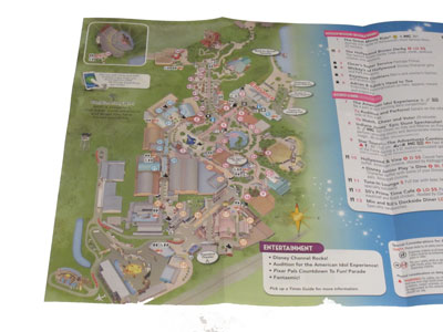 The new Hollywood Studios map looks crazy - with the park entrance at the top right.