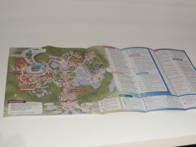 With the new guide, the map is on the left.  Magic Kingdom is shown here.