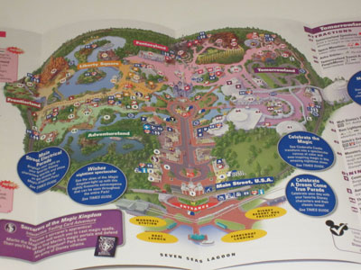 In this old map of the Magic Kingdom, north is up and the entrance is at the bottom.