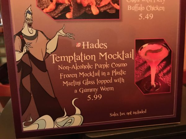 I tried the Hades Temptation Mocktail for $5.99. The frozen concoction was great for a warm summer night.