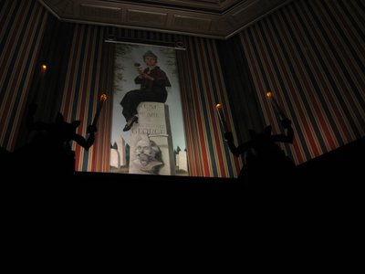 The Haunted Mansion Stretching Room is your introduciton to the story.