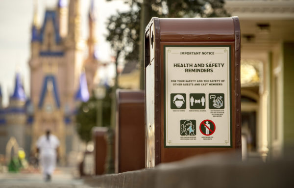 Disney has many health and safety signs throughout the parks. Photo credits (C) Disney Enterprises, Inc. All Rights Reserved