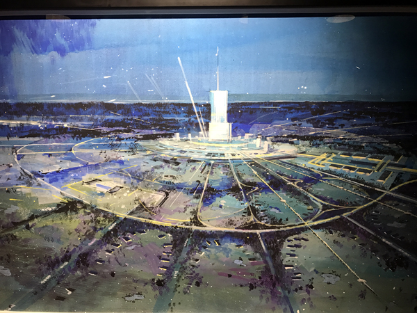 This painting shows the original concept for the Experimental Prototype Community of Tomorrow - when it was supposed to be an actual city with a skyscraper at its heart.