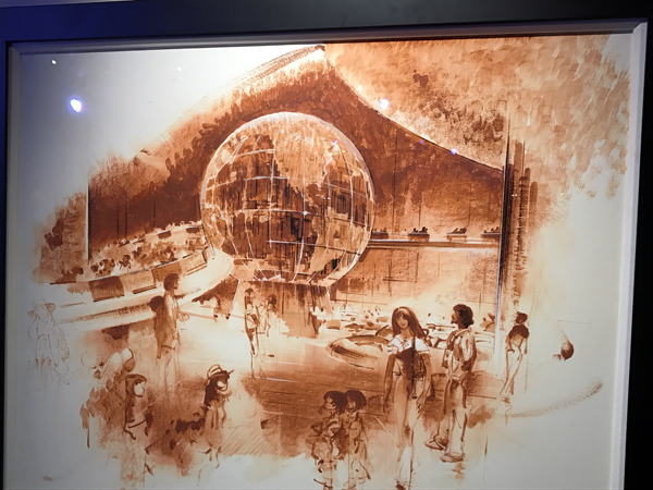 Early ideas for The World of Motion attraction, which sits where we now have Test Track, included a large globe in the entry area.