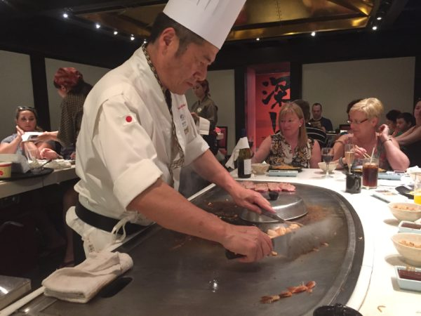 The hibachi-style dining at Teppan Edo is quite an experience!
