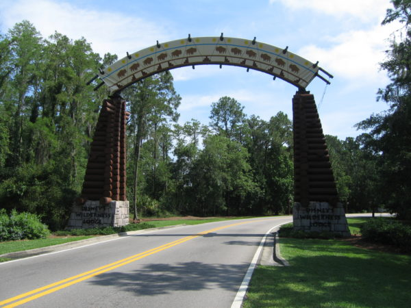 You'll know you're getting close to the Wilderness Lodge when you see this archway on Timberline Drive!