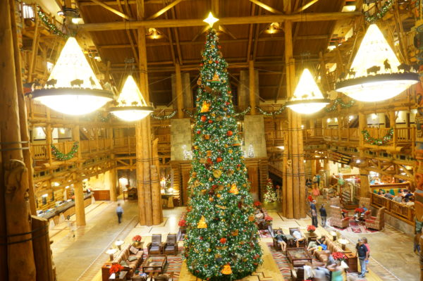 The floor may look like a rug, but it's actually made of wood! Also, look how beautiful the lodge is at Christmastime!
