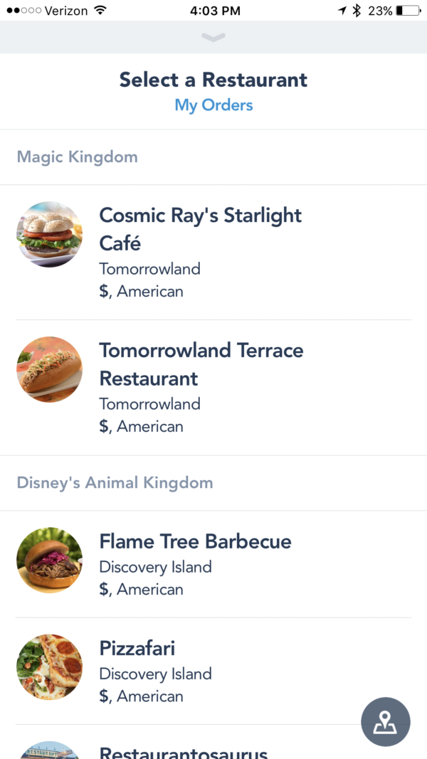 Select the restaurant where you plan to eat. Simply tap to move ahead.