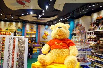 Pooh is everywhere in this shop just as you would expect.