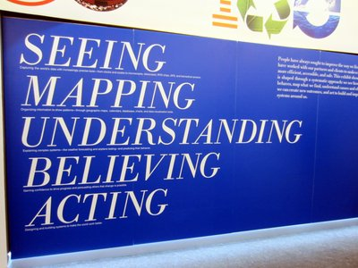 "The display is built around the ""see, map, understand, believe, act"" concept to problem solving."