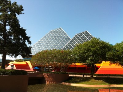 The show building for Imagination features iconic pyramids.