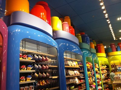 The Ink & Paint Shop is a colorful area full of the usual Disney merchandise, from plush figures to toys to a bit of food and sundries.