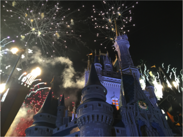 The only thing better than watching the fireworks from inside is seeing them from right underneath the castle!