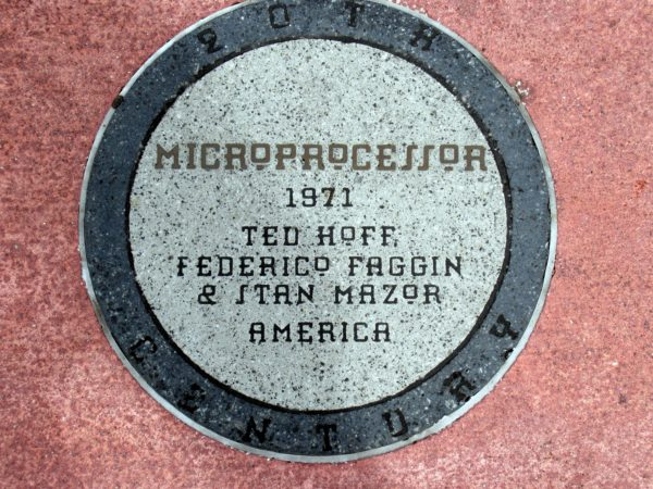 The microprocessor, invented in 1971 by Ted Hoff, Federico Faggin, and Stan Mazor, processes information in modern-day electronics like calculators, computers, and cell phones.