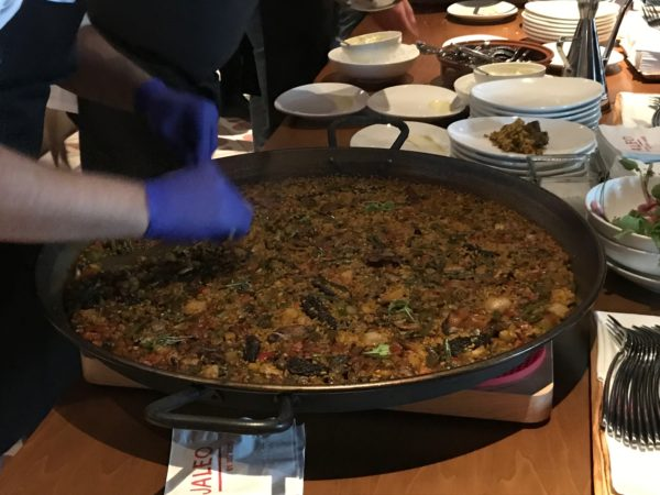 The paella is made in massive skillets, and it can take around 45 minutes to prepare!