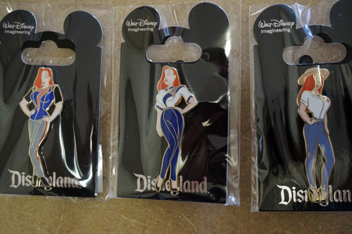 Jessica Rabbit trading pins.