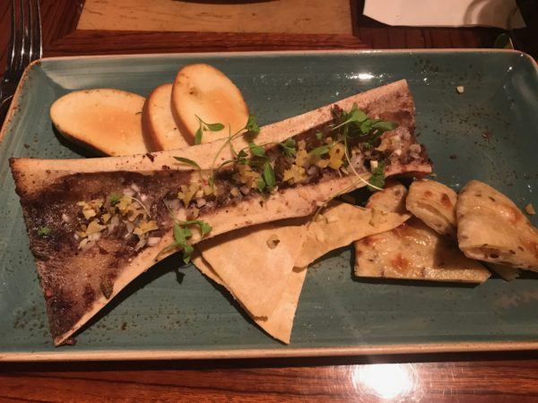 The prix-fixe appetizer was fire roasted bone marrow with salt cream capers, preserved lemons, parsley, shallots, rusk Cederberg Bukettraube, and Cederberg.