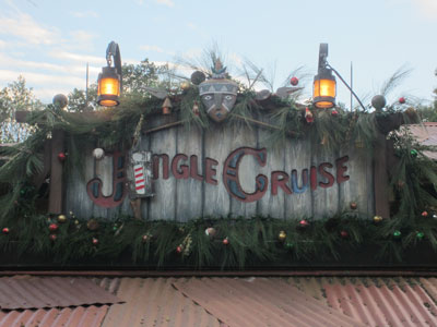 The Jungle Cruise becomes the Jingle Cruise for Christmastime.