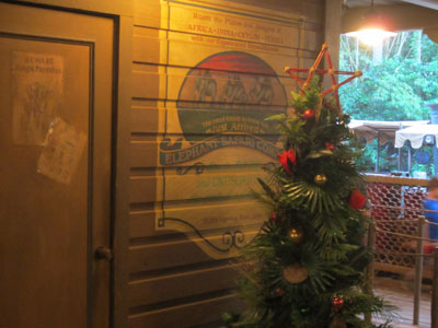 A Christmas tree in the Jingle Cruise queue.